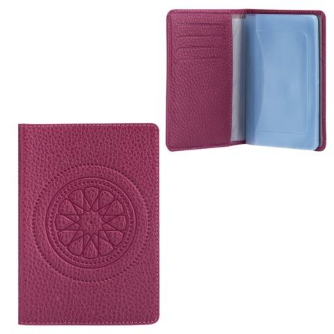 """Бумажник водителя FABULA """"Talisman"""", натуральная кожа, геометрическое тиснение, 6 пластиковых карманов, малиновый"""