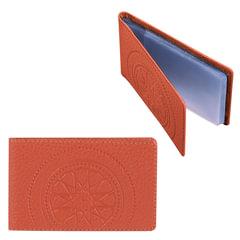 Визитница карманная FABULA «Talisman» на 40 визиток, натуральная кожа, тиснение, рыжая