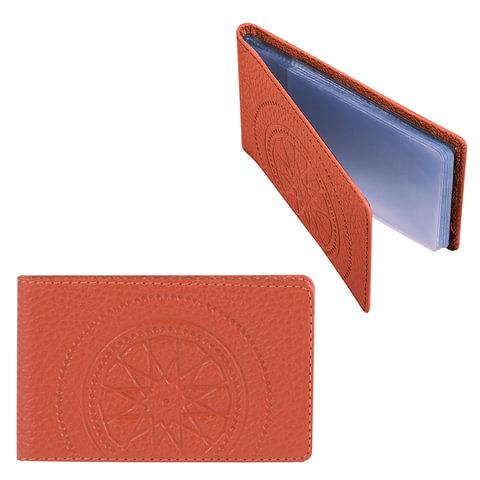 """Визитница карманная FABULA """"Talisman"""" на 40 визиток, натуральная кожа, тиснение, рыжая"""