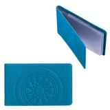 Визитница карманная FABULA «Talisman» на 40 визиток, натуральная кожа, тиснение, голубая