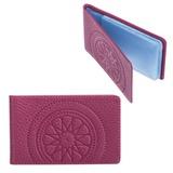 Визитница карманная FABULA «Talisman» на 40 визиток, натуральная кожа, геометрическое тиснение, малиновая