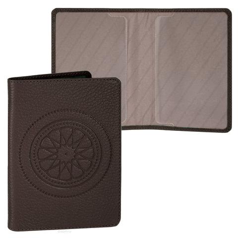 """Обложка для паспорта FABULA """"Talisman"""", натуральная кожа, геометрическое тиснение, шоколадная"""
