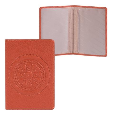 Обложка для паспорта FABULA «Talisman», натуральная кожа, геометрическое тиснение, рыжая