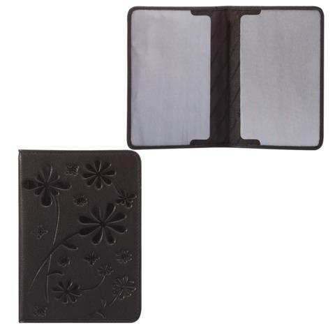 Обложка для паспорта FABULA «Astra», натуральная кожа, декоративное тиснение, черная