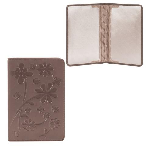 Обложка для паспорта FABULA «Astra», натуральная кожа, декоративное тиснение, какао