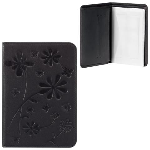 Бумажник водителя FABULA «Astra», натуральная кожа, декоративное тиснение, 6 пластиковых карманов, черный
