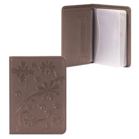 """Бумажник водителя FABULA """"Astra"""", натуральная кожа, декоративное тиснение, 6 пластиковых карманов, какао"""