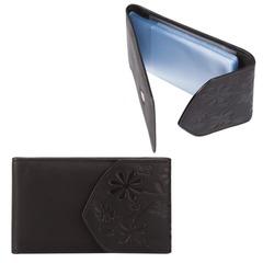 Визитница карманная FABULA «Astra» на 40 визитных карт, натуральная кожа, тиснение, черная