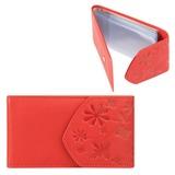 Визитница карманная FABULA «Astra» на 40 визитных карт, натуральная кожа, декоративное тиснение, красная