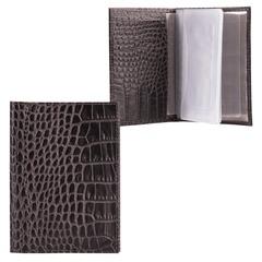 Бумажник водителя FABULA «Croco Nile», натуральная кожа, «крокодил», 6 пластиковых карманов, черный