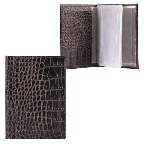 Бумажник водителя FABULA «Croco Nile», натуральная кожа, тиснение «крокодил», черный