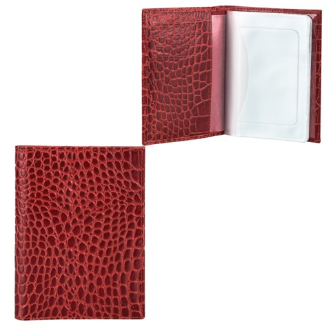 """Бумажник водителя FABULA """"Croco Nile"""", натуральная кожа, """"крокодил"""", 6 пластиковых карманов, красный"""