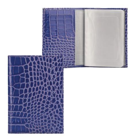 """Бумажник водителя FABULA """"Croco Nile"""", натуральная кожа, """"крокодил"""", 6 пластиковых карманов, синий"""