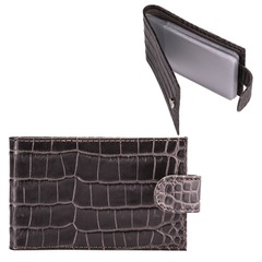 Визитница карманная FABULA «Croco Nile» на 40 визитных карт, натуральная кожа, крокодил, черная