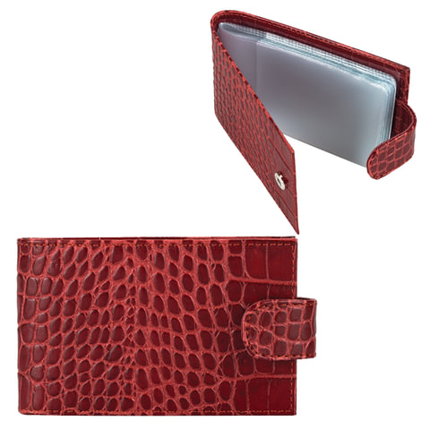 Визитница карманная FABULA «Croco Nile» на 40 визитных карт, натуральная кожа, крокодил, красная
