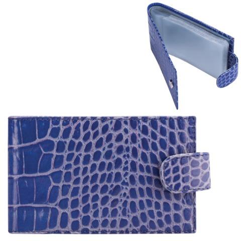 Визитница карманная FABULA «Croco Nile» на 40 визитных карт, натуральная кожа, крокодил, синяя