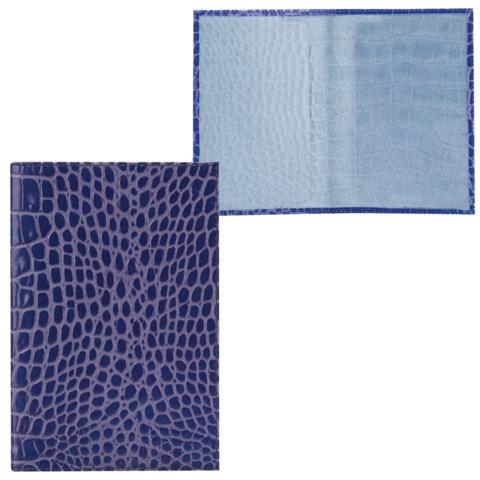 Обложка для паспорта FABULA «Croco Nile», натуральная кожа, тиснение «крокодил», синяя