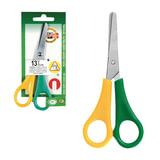 Ножницы KOH-I-NOOR, 135 мм, для левши, желто-зеленые ручки, картонная упаковка с подвесом