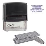 Штамп самонаборный 9-строчный без рамки, 7-строчный с рамкой, оттиск 76×37 мм, синий, COLOP PRINTER С60 Set-F, кассы в комплекте