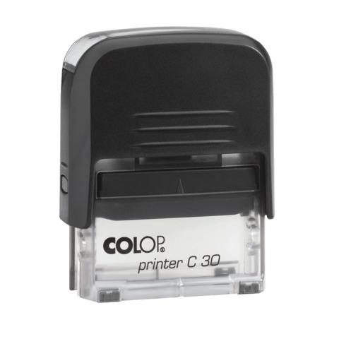 Оснастка для штампа, оттиск 47×18 мм, синий, COLOP PRINTER 30 Compact, подушка в комплекте, корпус черный