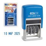 Датер-мини месяц буквами, оттиск 20×3,8 мм, синий, COLOP S120, корпус синий