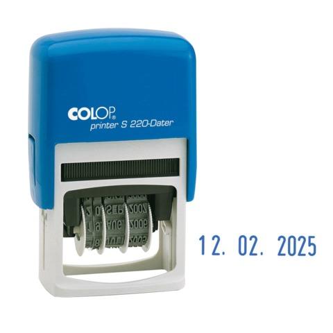 Датер месяц цифрами, оттиск 22×4 мм, синий, COLOP S220 Bank, корпус синий