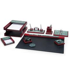 Набор настольный BESTAR «Zeus», мрамор, 8 предметов, двойной лоток, зеленый, красное дерево