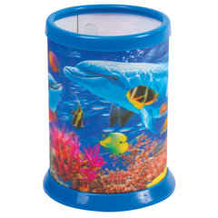 Подставка-стакан для канцелярских принадлежностей BRAUBERG, 3D-эффект, «Дельфины», D 87×106 мм