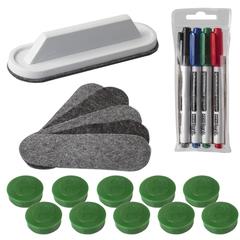 Набор для магнитно-маркерной доски «2×3» Eco Boards, 4 маркера+стиратель+чистящее средство+10 магнитов