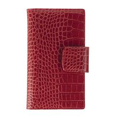 Визитница трехрядная FABULA «Croco Nile» на 120 визиток, натуральная кожа, крокодил, красная