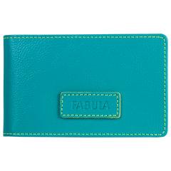 Визитница карманная FABULA «Ultra», на 40 визиток, натуральная кожа, бирюзовая