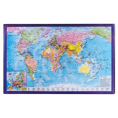 Коврик-подкладка настольный для письма BRAUBERG, 380×590 мм, с картой мира