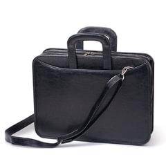 Портфель из кожзаменителя, 2 отделения, на молнии, «Карьера», 36×31×7 см, черный