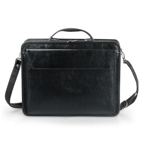 Портфель из кожзаменителя, жесткий каркас, на молнии, «Паритет», 38×29×6 см, черный