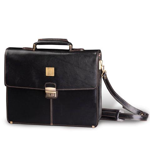 Портфель из натуральной кожи, замок с ключом, 390×300×100 мм, черный