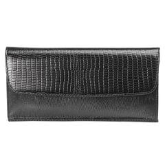 Портмоне женское BEFLER «Ящерица», натуральная кожа, кнопка, тиснение, 190×95 мм, черное