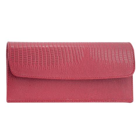 Портмоне женское BEFLER «Ящерица», натуральная кожа, кнопка, тиснение, 190×95 мм, красное