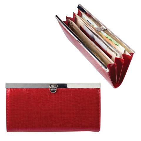 Портмоне женское BEFLER «Ящерица», натуральная кожа, металлический замок, тисненение, 186×95 мм, красное