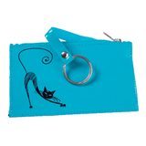 Футляр для ключей BEFLER «Изящная кошка», натуральная кожа, тиснение, молния, 130×85 мм, бирюзовый