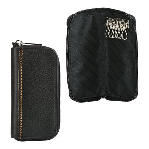 Футляр для ключей FABULA «Brooklyn», натуральная кожа, отстрочка, молния, 140×70 мм, черный