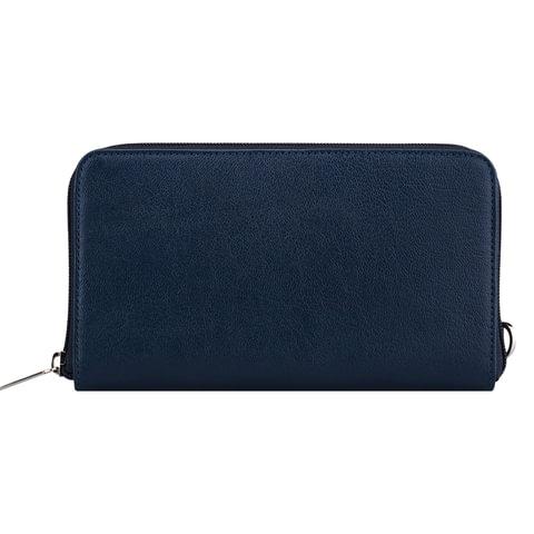 """Клатч мужской FABULA """"Largo"""", натуральная кожа, на молнии, 210х115х23 мм, синий"""