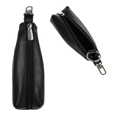Футляр для ключей FABULA «Estet», натуральная кожа, на молнии, 55×130×25 мм, черный