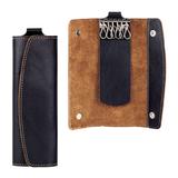 Футляр для ключей FABULA «Kansas», натуральная кожа, контрастная отстрочка, 2 кнопки, 60×160×15 мм, черный