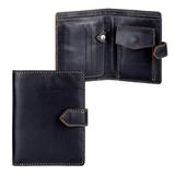 Портмоне мужское FABULA «Kansas», натуральная кожа, контрастная отстрочка, кнопка, 130×95 мм, черное