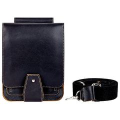 Сумка молодежная FABULA «Kansas», натуральная кожа, отстрочка, кнопка, 135×200×35 мм, черная
