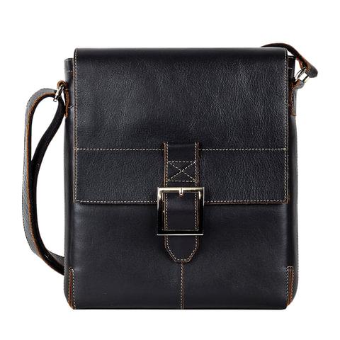 Сумка молодежная FABULA «Kansas», натуральная кожа, контрастная отстрочка, магнитный замок, 240×280×40 мм, черная