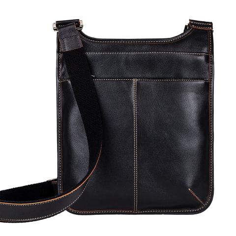 Сумка молодежная FABULA «Kansas», натуральная кожа, контрастная отстрочка, молния, 230×310×40 мм, черная