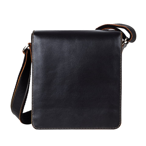 Сумка молодежная FABULA «Kansas», натуральная кожа, отстрочка, магнитный замок, 185×210×65 мм, черная
