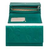 Портмоне женское FABULA «Abstraction», натуральная кожа, кнопка, декоративное тиснение, 193×109 мм, зеленое