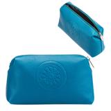 Косметичка женская FABULA «Talisman», натуральная кожа, геометрическое тиснение, молния, 225×90×130 мм, голубая